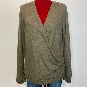 Paper Crane Long sleeve Wrap Front Sweater